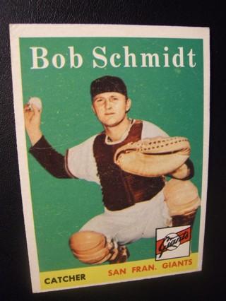 1958 - TOPPS EXMT - NRMT BASEBALL CARD NO. 468 - BOB SCHMIDT -  GIANTS