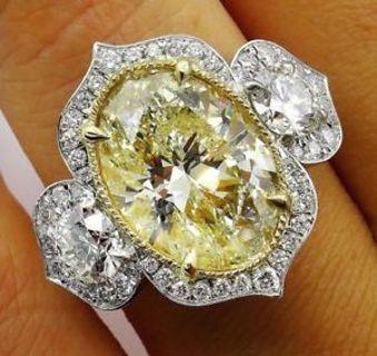 Sparkling Oval Yellow Citrine Ring White Topaz Women Wedding Jewelry 925 Silver