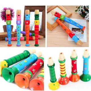 Fair-Sounding Educational Wooden Horn Hooter Trumpet Instruments Music Kids Toys