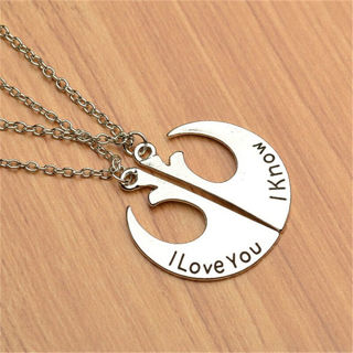 2Pcs Sweet Star Wars I love you I know Pendent Chain Necklace Love Couples