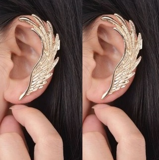 NEW 2PCS Angel Wing Feathers Golden Ear Clip Left Ear Cuff Clip FREE SHIPPING