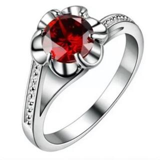 Red Crystal Rhinestone Flower Ring Size 8