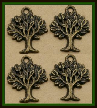 4 (four!) pcs TREE of LIFE Bronze Tone Charms Pendants, 20mm x 17mm, Brand NEW!