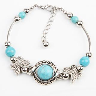Blue Beads Tibetan Silver Butterfly Bracelet Handmade Accessories Fashion Jewelry