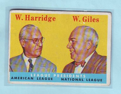 1958 Topps William Harridge & Warren Giles Baseball Card # 300