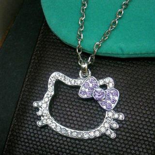 HELLOKITTY Crystal Head Shining Jewelry Chain Necklace