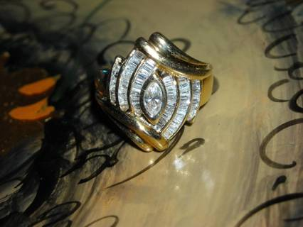DIAMOND RING LADIES A LOT OF FLASH FOR LITTLE CASH GRAB THIS BEAUTY!