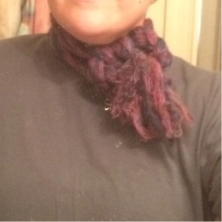 Braided pink and purple infinity scarf