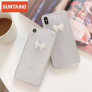 Luxury Lace Bow Case For iPhone XS MAX Transparent Soft TPU Clear case For iPhone 8 7 Plus 6 6S Plus