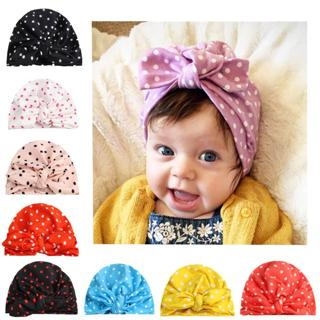 glittery sweet Fashion Dot Baby Hat Turban Bowknot Baby Girls Cap Spring Autumn Kids Hats Beanie I
