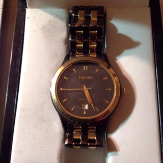 Awesome Black/gold Elgin Watch, used in box, needs battery.