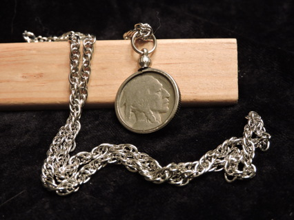 "~~ no date buffalo nickel [with 23"" chain]"