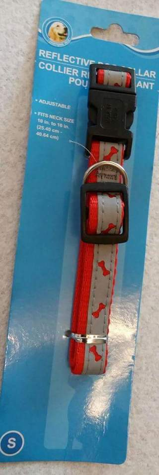"""NEW SMALL 10"""" - 16"""" RED REFLECTIVE DOG COLLAR"""