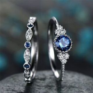 Fashion Round Cut Sapphire Women Wedding Ring 925 Silver Jewelry Size 6-10