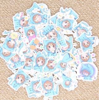 Blue Cat Hooded Anime Girl Kawaii High End Sticker Flakes Set of 10 BRAND NEW ♥️♥️
