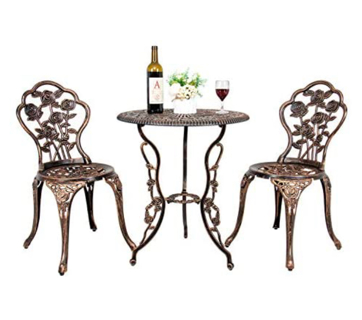 FULLWATT Cast Aluminum Dining Chair Set Outdoor Bistro Rose Design Table and 2 Chairs
