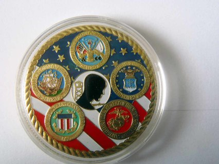 Free: Coin Challenge Coin Military coin 24K GOLD PLATED All service