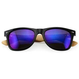 Unisex Bamboo Sunglasses Wooden - Black & Blue