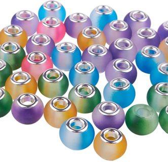 10pc Euro Mixed Two Tone Glass Beads Lot 4 (PLEASE READ DESCRIPTION)