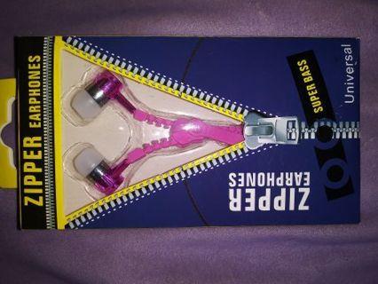 Pink Zipper Headphones Brand New