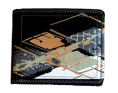 Leather & Cotton Wallet w/ Paint Splatter look - Free Shipping 5 day auction