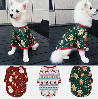 Dog Christmas T-shirt Snowman Elk Printed Puppy Short Sleeve Vest Pet Clothes