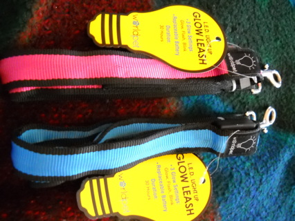 L.E.D Light Up Glow Leash Pink and Blue