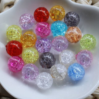 [GIN FOR FREE SHIPPING] 50Pcs Acrylic Round Loose Crackle Beads