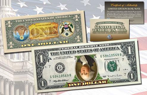 Real Error US One Dollar Bill  – With COA And 5 Gold Nuggets Bonus!