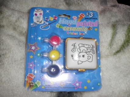 "Cute lil Elephant porcelain ""paint- yourself"" trinket box & Extra paints!!!"