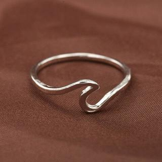 Simple Ocean Wave Ring Sliver Alloy Cute Wave Shape Rings Wedding Girl Jewelry