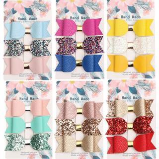 3x Sparkle Hair Clip Bow PU Leather Children Baby Girls Handmade Dress Decor