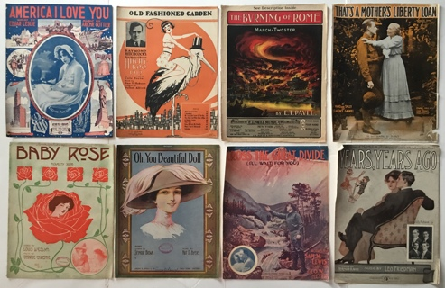 Antique Sheet Music / Song Books Collection Mixed Lot of 73 Vintage 1885-1949