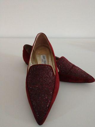 JIMMY CHOO burgundy sparkly dress shoes. Size: USA 7.5