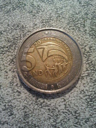 Rare South African 20 years of freedom coin