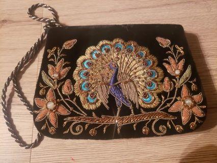 Velvet Peacock purse