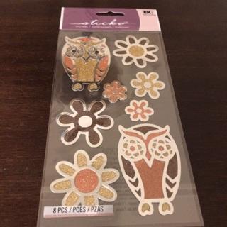 Sticko glitter owl stickers