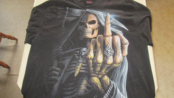 Men's - Bone Finger - T-Shirt Black SIZE 2XL -  XXL