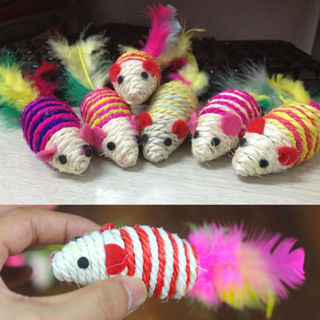 2PCs Colorful Mouse Ribbed Rattles Cat Pet Sisal Rope WeaveToy Chew Toy