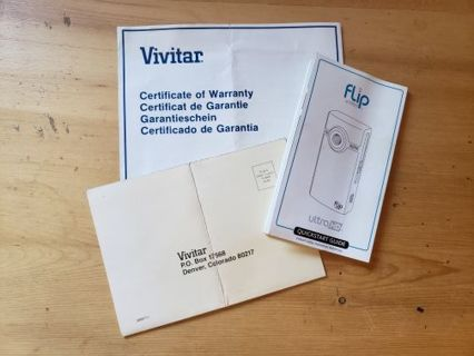 Camera Manuals Lot Vivitar Certificate of Warranty Flip Video Quickstart Guide Vintage
