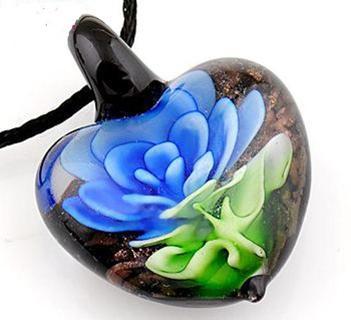 WoW✿Beautiful✿Murano Blue Flower Lampwork Glass Charm Pendant PAYPAL SHIP