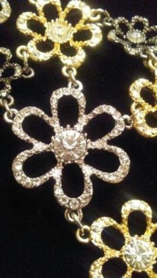 Dramatic Vintage Gold and Silver Tone Necklace