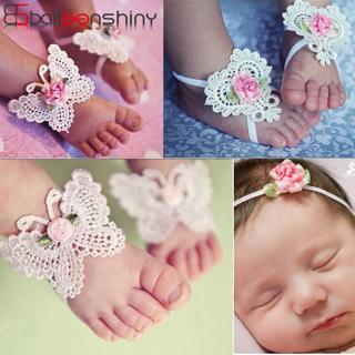 BalleenShiny 3PCS Flower Headband Baby Girls Barefoot Sandals Hair Foot Accessories Elastic Fashio
