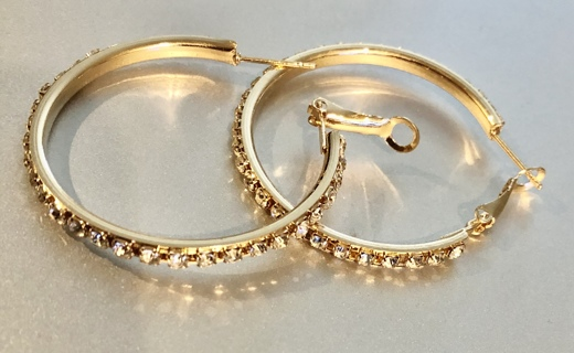 BNIP Pierced Fashion Gold-Tone Hoop Style, Cubic Zirconium Earrings. So Pretty!