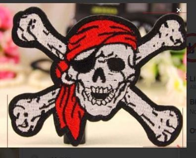1 NEW PIRATE SKULL PATCH IRON ON BADGE CROSSBONES EMBROIDERED APPLIQUE FREE SHIPPING