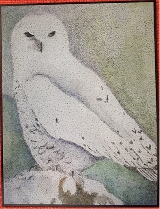 "SNOWY OWL - 5 x 7"" Art Card by artist Nina Struthers - GIN ONLY"