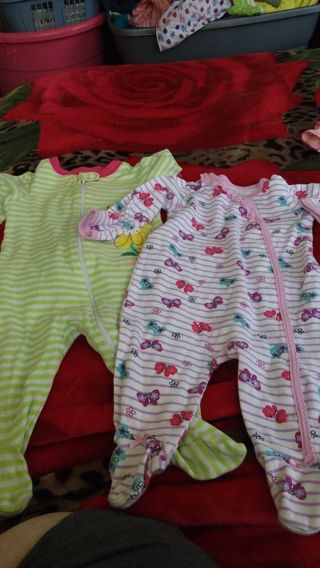 2 baby girls sleepers 3-6months