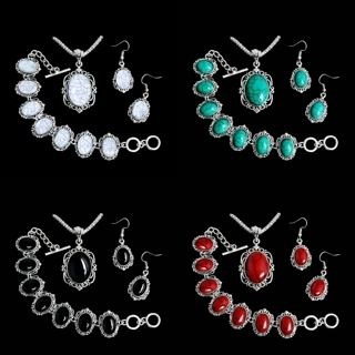 [GIN FOR FREE SHIPPING] Novel Shape Thai Silver Turquoise Jewelry Necklace Bracelet Earring Set