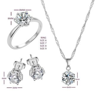 Fashion Jewelry Sets Cubic Zircon Statement Necklace & Earrings Rings Wedding Jewelry