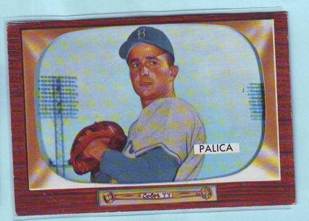 1955 Bowman Erv Palica Baseball Card # 195 Brooklyn Dodgers